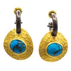 Persian Turquoise Gold Vermeil  Reversible Earrings