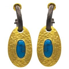 Egyptian Turquoise Thick Gold Vermeil  Oxidized Sterling Silver Post Earrings