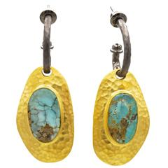 Large Persian Turquoise Oxidized Sterling Silver Gold Earrings