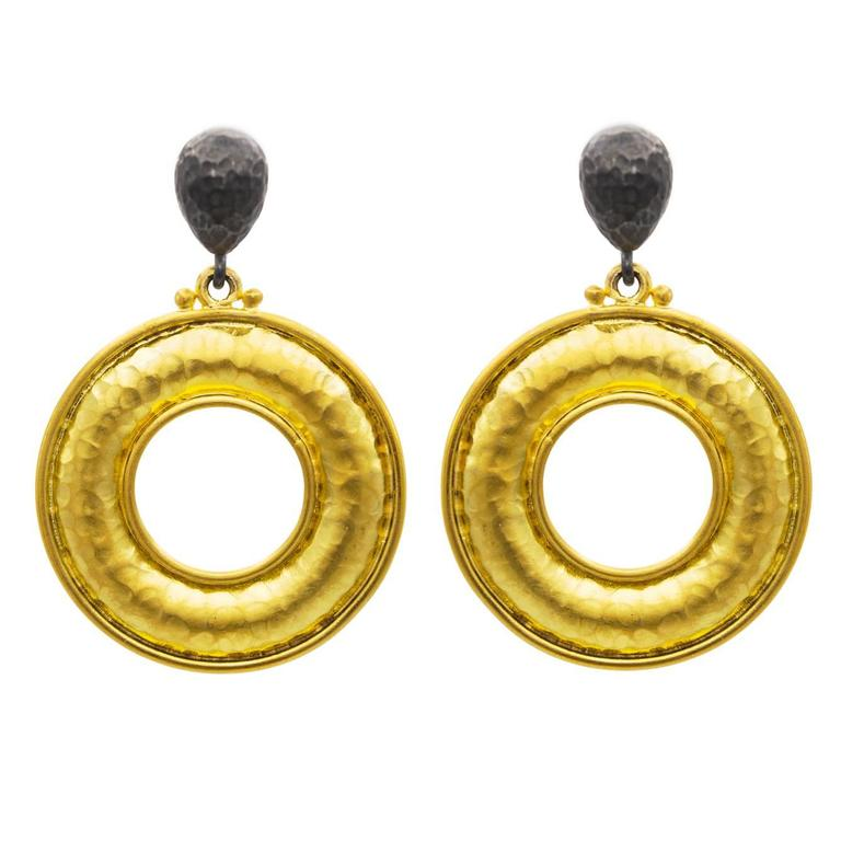 Two Toned Oxidized Sterling Silver And Thick Gold Vermeil Drop Hoop Earrings For