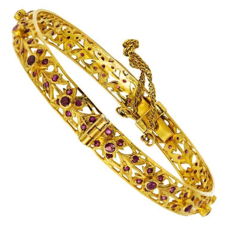 Ruby Gold Floral Bracelet
