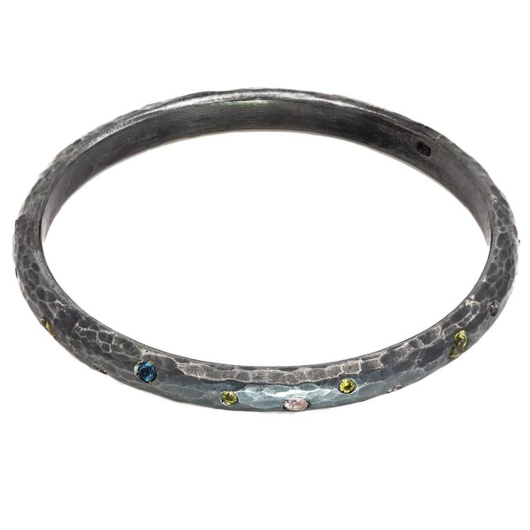 Topaz Citrine Tourmaline Oxidized Sterling Silver Bangle Bracelet
