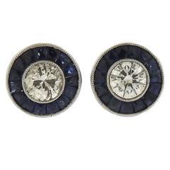 Art Deco Sapphire Diamond Platinum Stud Earrings