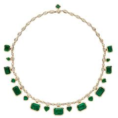 Marina B Arca Zambian Emerald Diamond Gold Necklace