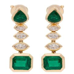 Marina B Arca Zambian Emerald Diamond Gold Earrings