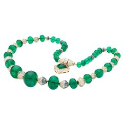 Marina B Exclusive La Mer Zambian Emerald Sapphire Diamond Gold Bead Necklace