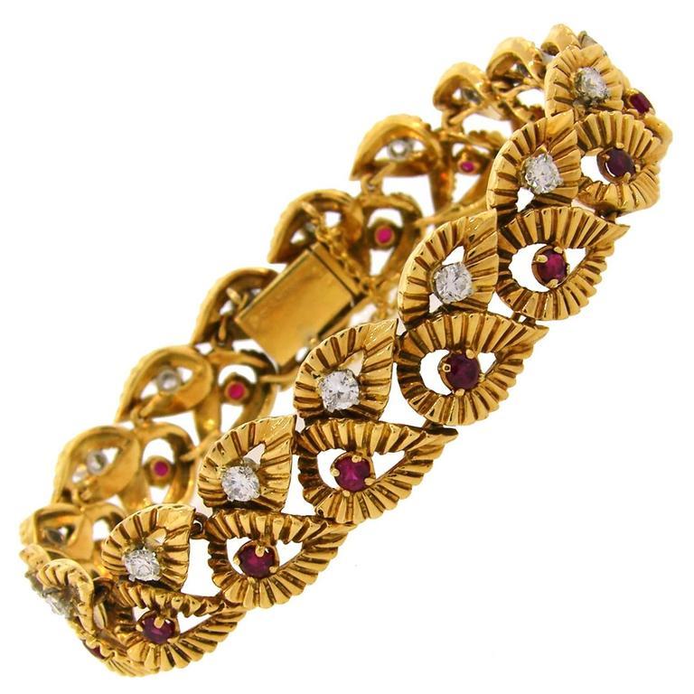 1950s Boucheron Ruby Diamond Gold Leaf Motif Bracelet