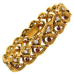 1950s Boucheron Ruby Diamond Gold Leaf Motif Bracelet