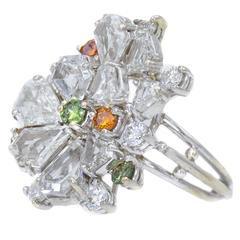 White Gold Cluster Ring 1970s Sparkling Diamond Multi-Color
