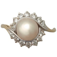 Pearl and Diamond Yellow Gold Cocktail Ring