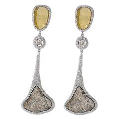 10.61 Carat Diamond Slice Gold Earrings
