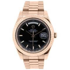Rolex Rose Gold Day Date II Black Dial Automatic Wristwatch Ref 218238