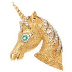 1970s Large Diamond Gold Unicorn Brooch