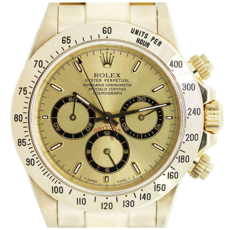 Rolex Yellow Gold Daytona Zenith Oyster Perpetual Automatic Wristwatch  For Sale