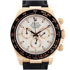 Rolex Rose Gold Daytona Ivory Dial Automatic Wristwatch Ref 116515