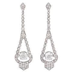 Art Deco Diamond Platinum Earrings