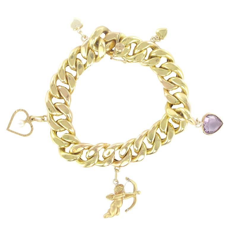 Gold 5 Charm Bracelet