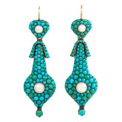 English Antique Turquoise Pearl Gold Day-to-Night Earrings