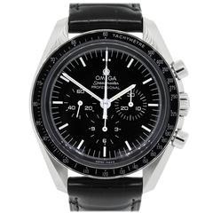 Omega Stainless Steel Speedmaster Chronograph Moon Wristwatch