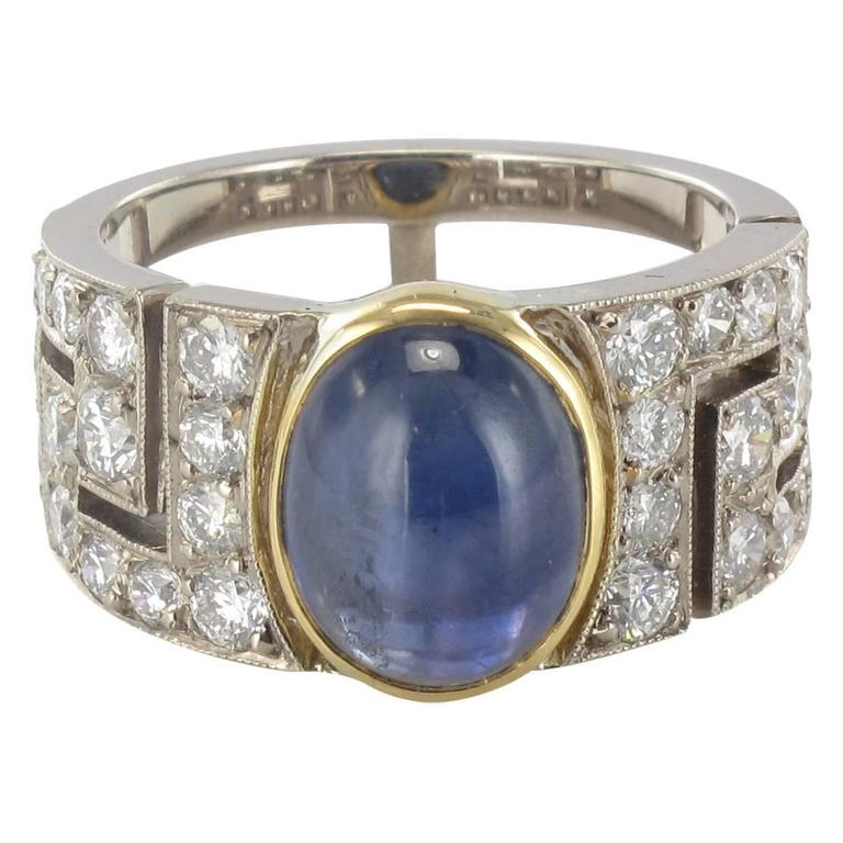 Modern French Sapphire Cabochon Diamond Gold Ring