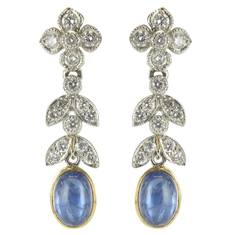 Modern French Sapphire Cabochon Diamond Gold Earrings