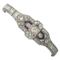 4.54 Ct Diamond and 0.25 Ct Sapphire, Platinum Bracelet - Art Deco