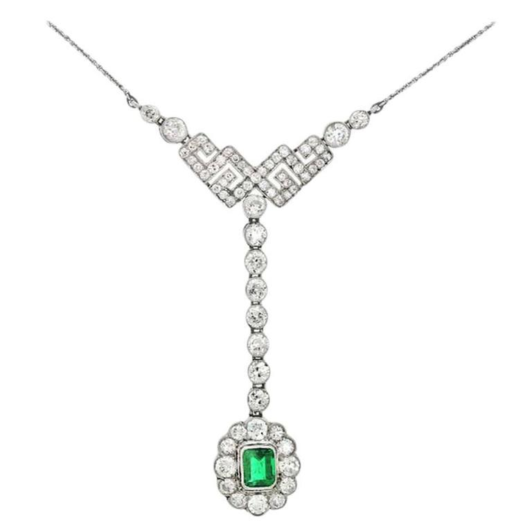 Art Deco Emerald Diamond Gold Necklace 1