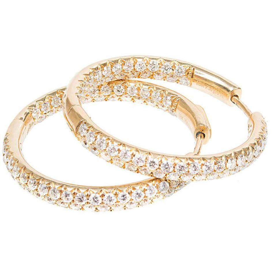 2.75 Carat Yellow Gold Inside Out Diamond Hoop Earrings