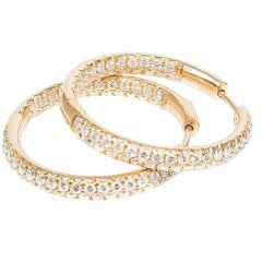 2.75 Carat Yellow Gold Inside Out Diamond Hoop Earrings