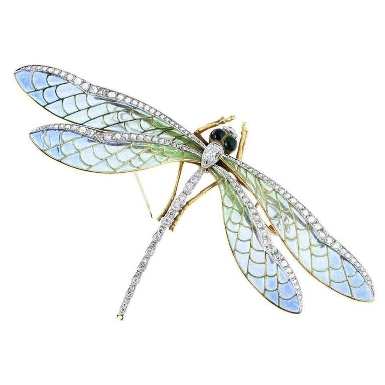 Antique Style Plique-a-jour Cut Diamond gold Dragonfly Pin 1
