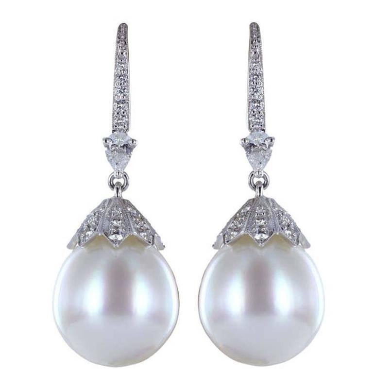 South Sea Pearl Diamond platinum Drop Earrings