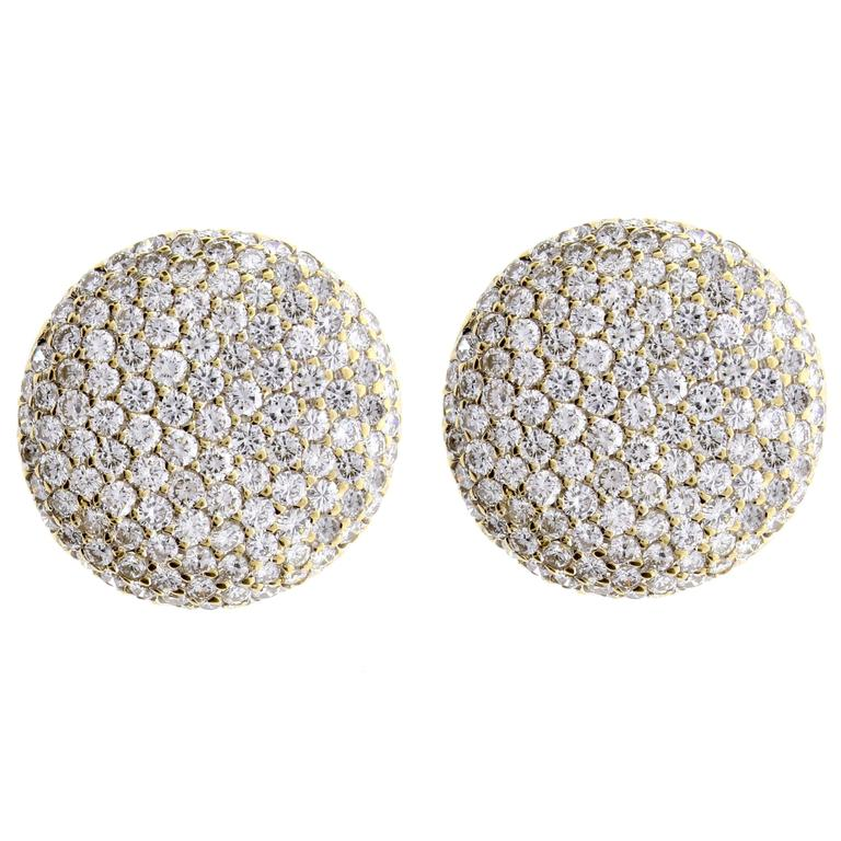 cartier pavé diamond gold large button earrings for sale at 1stdibs