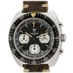 Croton Stainless Steel Oversized Diver's Chronograph Wristwatch