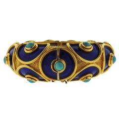Cellino Blue Enamel Turquoise Gold Bangle Bracelet