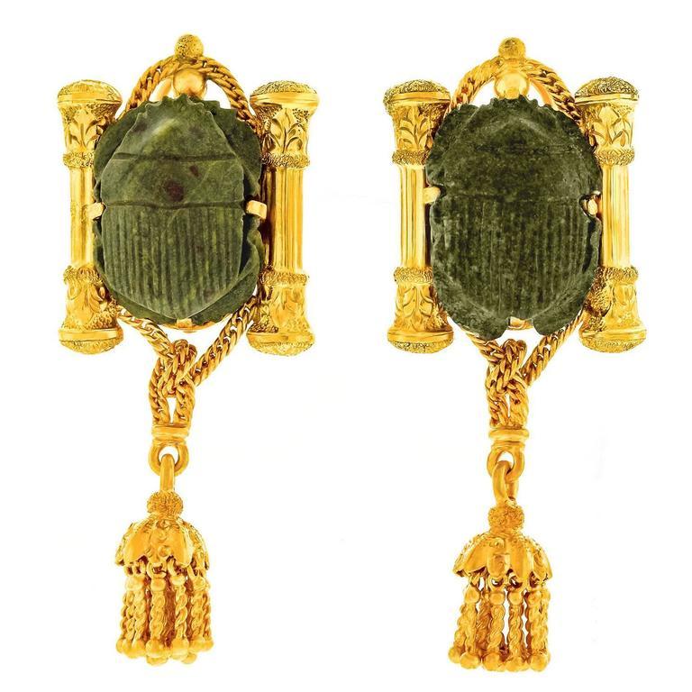 Egyptian Revival Hardstone Scarab Yellow Gold Earrings