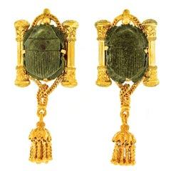 Egyptian Revival Hardstone Scarab Set Gold Earrings