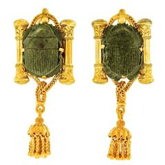 Egyptian Revival Hardstone Scarab Yellow Gold Earrings