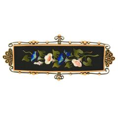 1880s Antique Pietra Dura Gold and Silver Brooch