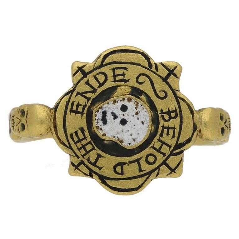 """Tudor Enameled """"BEHOLD THE ENDE"""" English Skull Ring For Sale"""