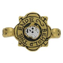 "Tudor Enameled ""BEHOLD THE ENDE"" English Skull Ring"