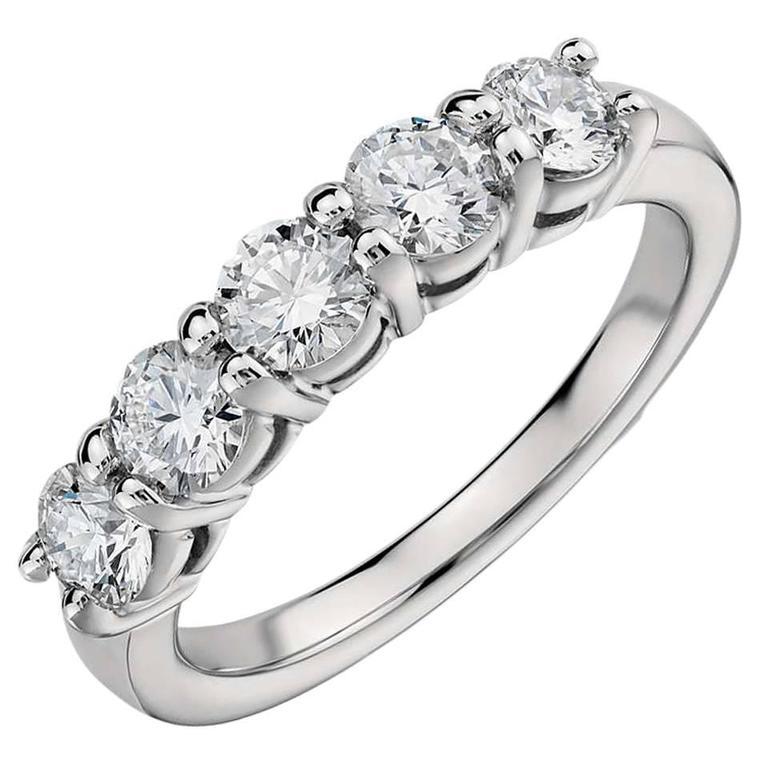 1.60 Carats Diamonds Eternal Diamond Platinum 5 Stone Ring  For Sale