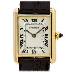 Cartier Yellow Gold White Dial Tank Louis Wristwatch