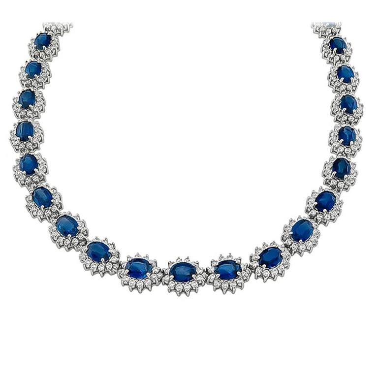 Stunning Sapphire Diamond Gold Cluster Necklace
