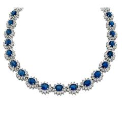 Stunning Sapphire Diamond Gold Cluster Necklace