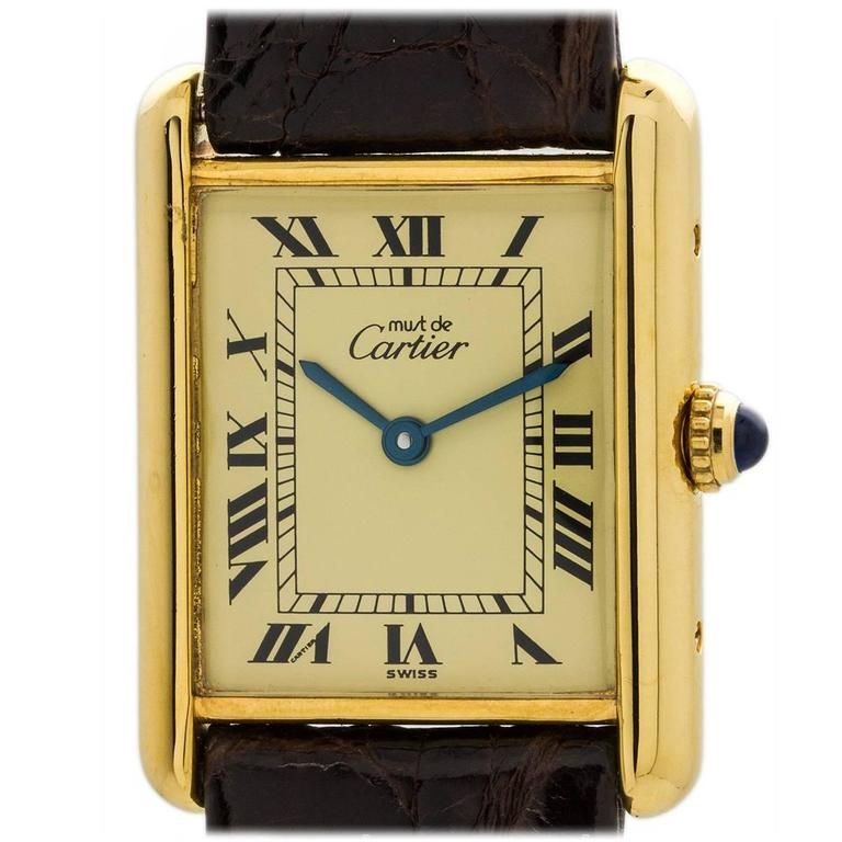 451911fe453 Cartier Vermeil Must de Cartier Tank Louis Quartz Wristwatch at 1stdibs