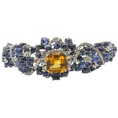 1960s Citrine Sapphire Diamond Gold Flexible Cuff Bracelet