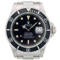 Rolex Tiffany & Co. Stainless Steel Submariner Wristwatch Ref 16610