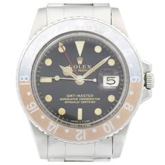 Rolex Stainless Steel Gilt Dial GMT-Master Wristwatch Ref 1675