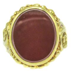 1890s Late Victorian Carnelian Gold Seal Ring