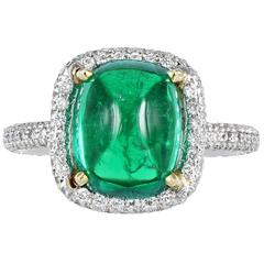 4.01 Carat Cabochon Emerald Diamond Platinum Ring